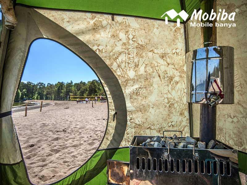 Sauna Mobiba MB-10 mit Wassertank von innen