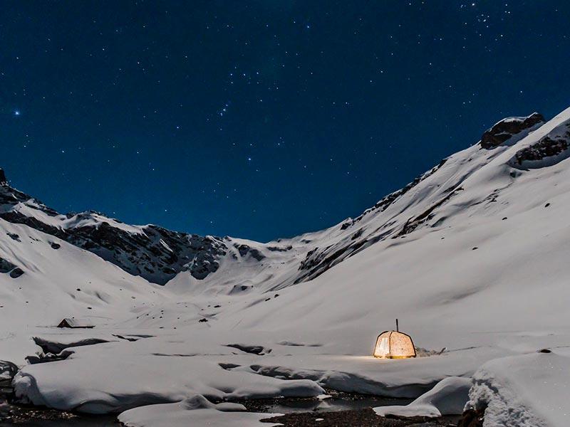 Winternacht mit Mobiba RB-170 K2 Rucksack Sauna